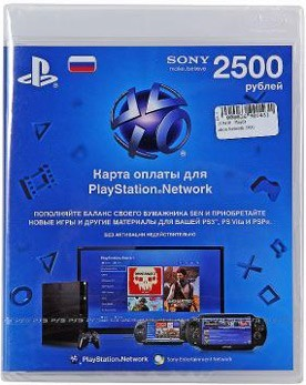 Карта оплаты Playstation Network 2500 руб. - PS4, Xbox One, PS 3, PS Vita, Xbox 360, PSP, 3DS, PS2, Move, KINECT, Обмен игр и др.